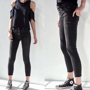 Free People Reagan Button Front Jeans Black